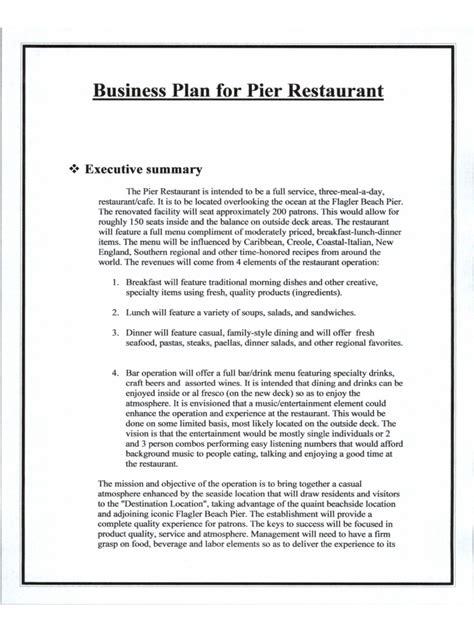 business plan template restaurant
