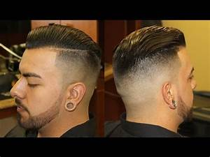 Slicked Back Pompadour with Bald Fade; pomp; scissor ...