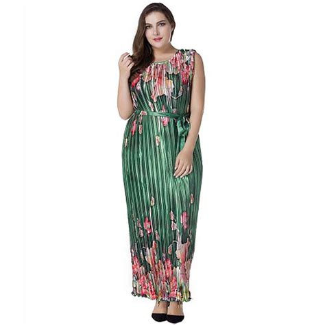 Plus Size Women Green Floral Party Evening Long Maxi