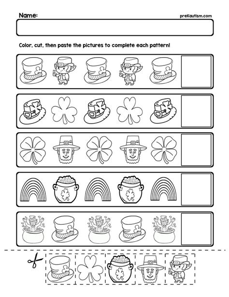free st patrick s day pattern worksheets my tpt store