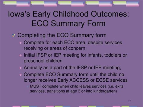 ppt early childhood outcomes powerpoint presentation 842 | iowa s early childhood outcomes eco summary form22 l