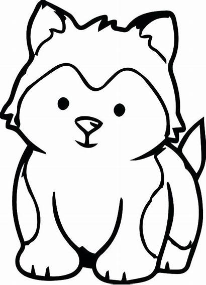 Puppy Husky Coloring Pages Printable Dog Animals