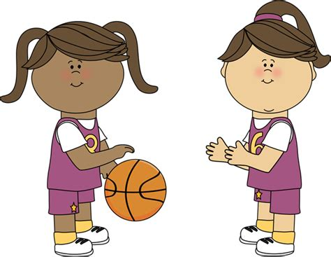 Girls Playing Basketball Clip
