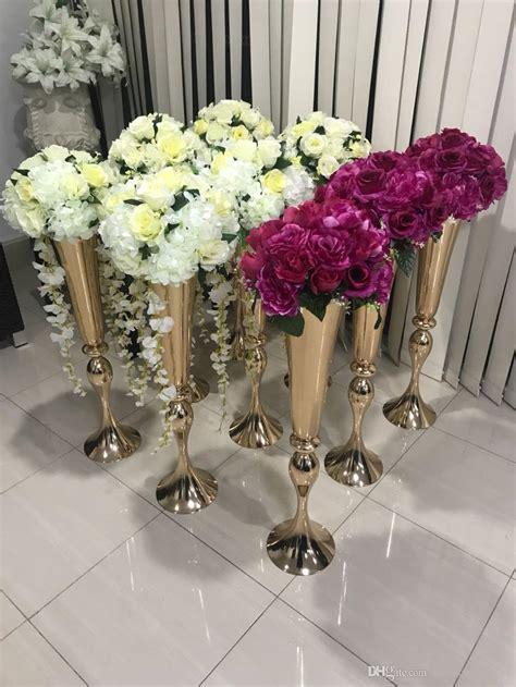 sell shiny gold wedding flower vase 75 cm tall table centerpiece metal trumpet vase flower