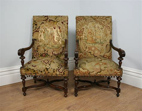 Pair French Fauteuil Caroelan Tapestry Armchairs