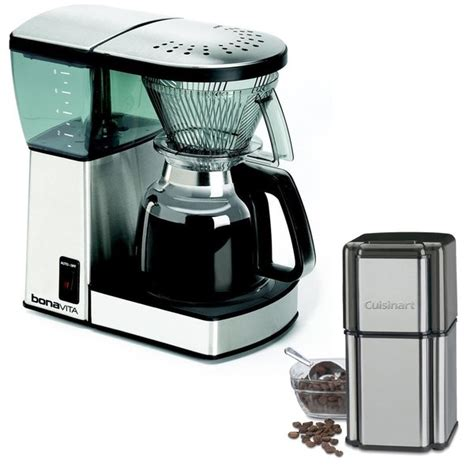 Cuisinart dbm 8 supreme grind automatic burr mill coffee coffee makers electric kettles grinders stand mixers hand stick manualzz cuisinart touchscreen 8 oz black burr coffee grinder dbm t10 the. Shop Bonavita BV1800 8-Cup Coffee Maker with Glass Carafe and Cuisinart Grind Central Coffee ...