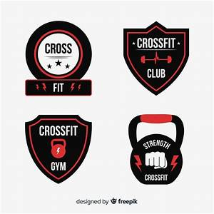 Flat crossfit logo template collection Vector   Free Download