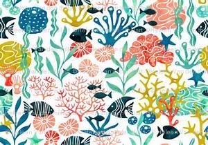 ocean plants and fish in watercolor no pink fabric With handmade textile weeds by miranda van dijk