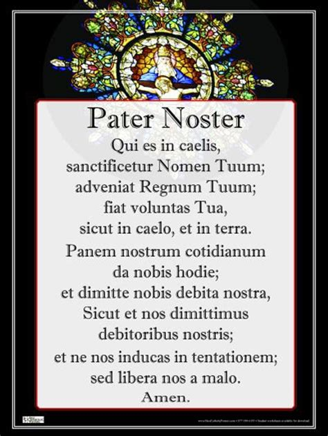 pater noster prayer pater noster poster