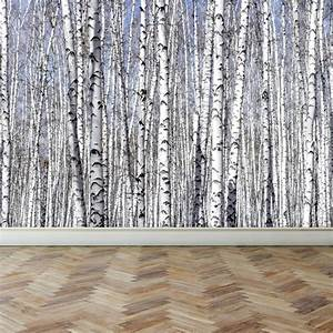 Wall mural white birch trees peel and stick for White birch tree wall decal decorations