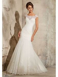 mori lee 5305 rouched tulle fishtail gown with lace trim ivory With fishtail wedding dress
