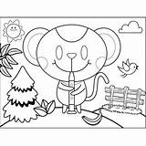 Oboe Playing Mouse Coloring Printable sketch template