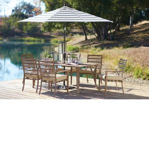 point reyes umbrella with dining table and chairs