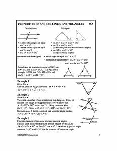 Properties Of Angles  Lines  And Triangles Worksheet For