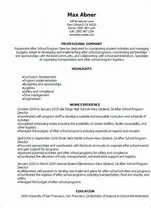 professional after school program director resume With how to make a resume after high school