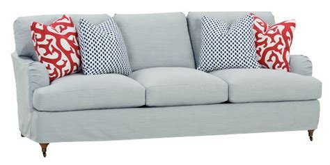 slipcovered pillowback sofa  english arms