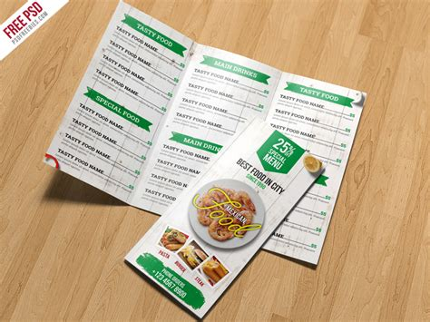 Trifold Brochure Template Free Psd Uxfree Restaurant Menu Trifold Brochure Psd Template Uxfree