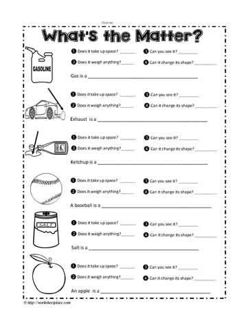 a matter worksheet worksheets