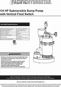 Harbor Freight 1 4 Hp Submersible Sump Pump With Vertical