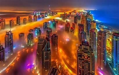 Dubai Lights Above Uae Bright Clouds Night