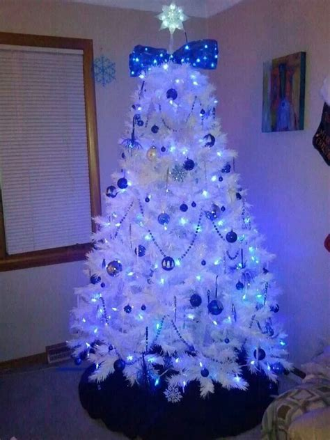 white christmas tree with blue lights www pixshark com