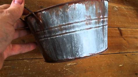 diy dollar tree bucket  faux rusty galvanized