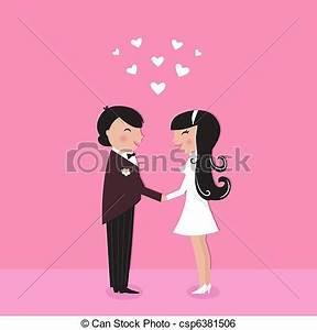 Clip Art Vector of Cute Bride with groom, wedding ceremony ...