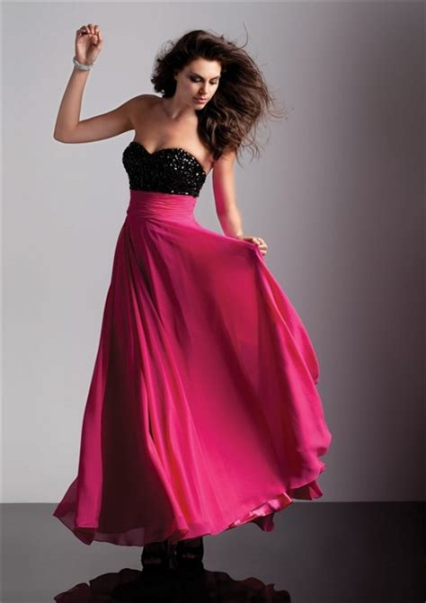lineprincess sweetheart empire long black red chiffon