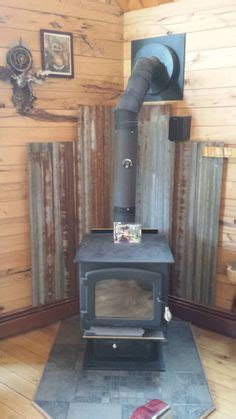 corrugated tin heat shield wood stove pinterest