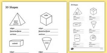 free properties of 3d shapes worksheet maths resource