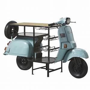 Mobile Da Bar Scooter Blu In Metallo E Legno Di Mango