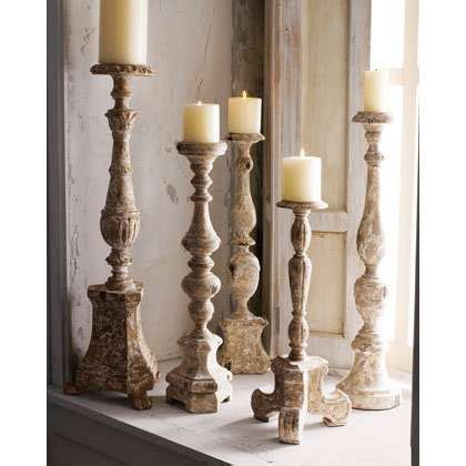 image detail  antiqued wooden candlesticks thisnext