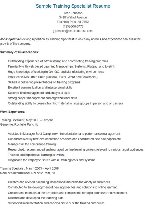 Resume Specialist by Resume Sles Sle Specialist Resume