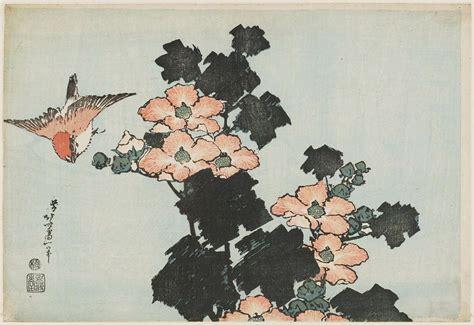 Katsushika Hokusai: Hibiscus and Sparrow, from an untitled
