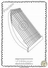 Coloring Pages Mandolin String Instruments Zither Getcolorings Printable Instrument продавец Teacherspayteachers sketch template