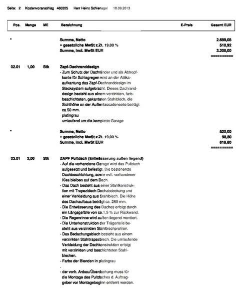 kostenvoranschlag der fa zapf gmbh f 252 r dachsanierung