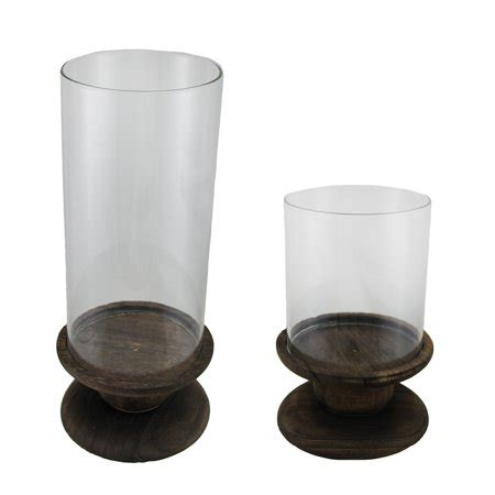 Wood And Glass Candle Holders by Burnished Wood And Glass Hurricane Candle Holder 2 Pc Set