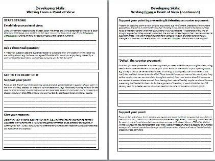 supported writing point  view language paper   teaching resources