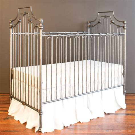 wrought iron crib parisian 3 in 1 crib pewter