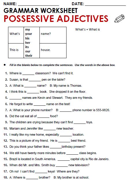 All Worksheets » Possessive Adjectives And Possessive Pronouns Worksheets Pdf Printable