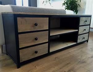 Meuble Acier Bois : meuble tv acier noir et bois 6 tiroirs ~ Teatrodelosmanantiales.com Idées de Décoration
