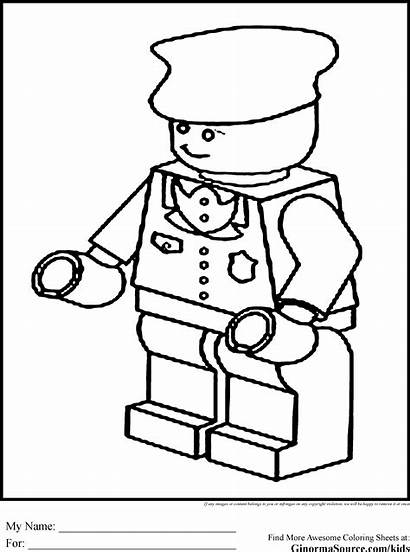 Coloring Lego Pages Police Train Conductor Printable