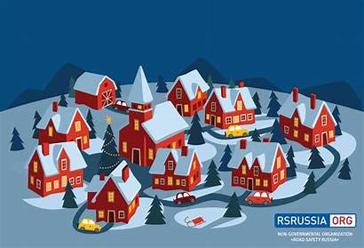 Christmas Merry Happy Safety Russia Road Colleagues
