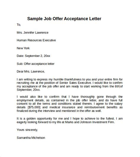 acceptance of job offer letter sample offer acceptance letter 9 download free
