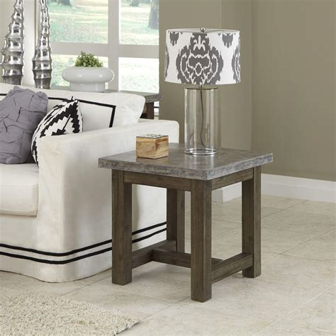 concrete top end table home styles concrete chic weathered brown concrete top end
