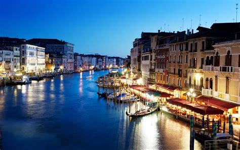 Grand Canal Venice Italy Sunset Buildings Architecture