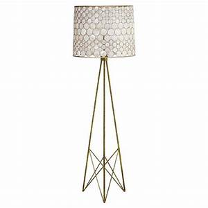 Oly studio serena antique gold capiz shell floor lamp for Gold shell floor lamp