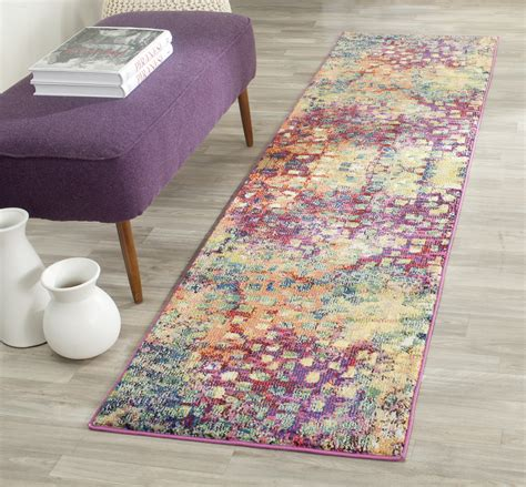 safavieh runner pink multi safavieh power loomed monaco area rugs