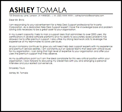 desk support cover letter sample cover letter templates examples