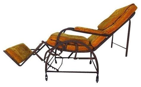 pre owned antique wrought iron reclining chair